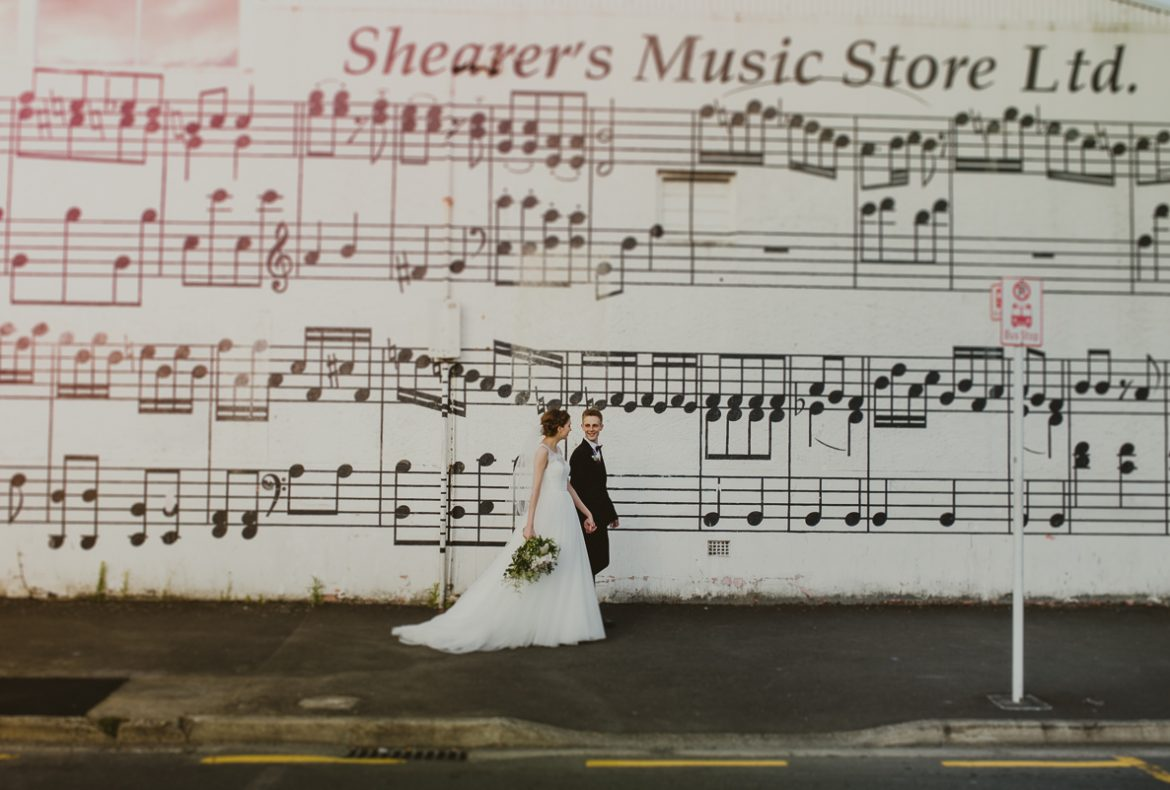 Bride and groom in hamilton's city centre